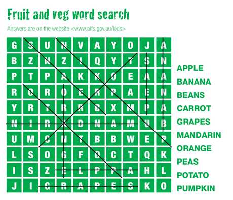 fruit and veg word search solution
